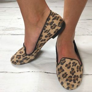 Cheetah print loader flats slip on shoes women 8